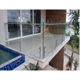 corrimão com vidro e inox Vila Romana