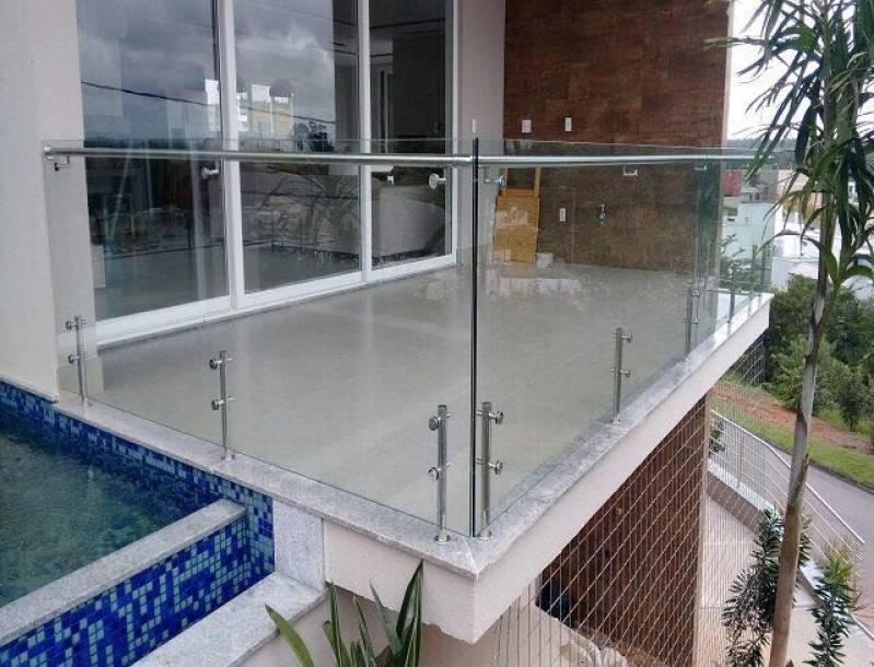 Corrimão com Vidro e Inox Campo Belo - Corrimão com Vidro Temperado