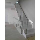 venda de guarda corpo de vidro para escada valor Bairro Vila Jundiaí
